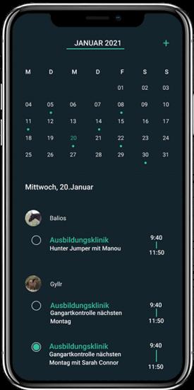 HorseAnalytics, Kalender, Management